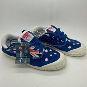 Youth Kids Shoes Dunlop Volleys Navy Flag Print